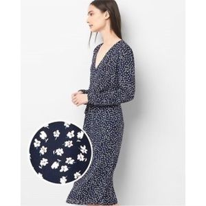 GAP Navy Floral Button Front Midi Dress